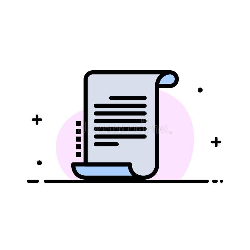 Verordnung, Roman, Szenario, Drehbuch-Geschäfts-flache Linie füllte Ikonen-Vektor-Fahnen-Schablone vektor abbildung