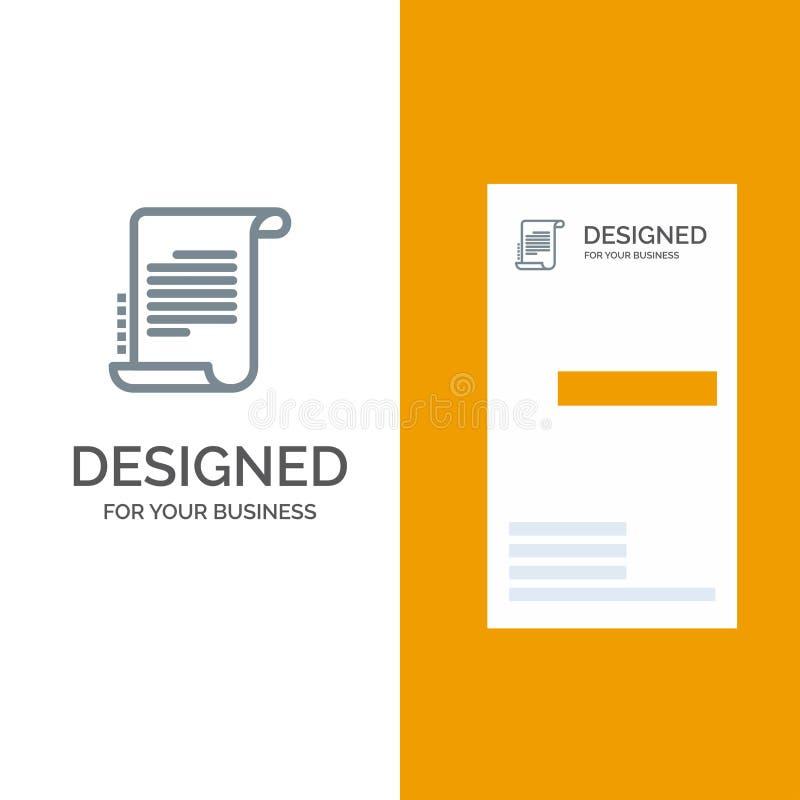 Verordnung, Roman, Szenario, Drehbuch Grey Logo Design und Visitenkarte-Schablone vektor abbildung