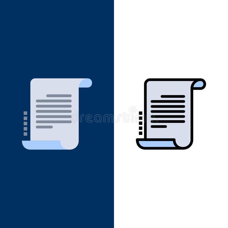 Verordnung, Roman, Szenario, Drehbuch-Ikonen Ebene und Linie gefüllte Ikone stellten Vektor-blauen Hintergrund ein vektor abbildung