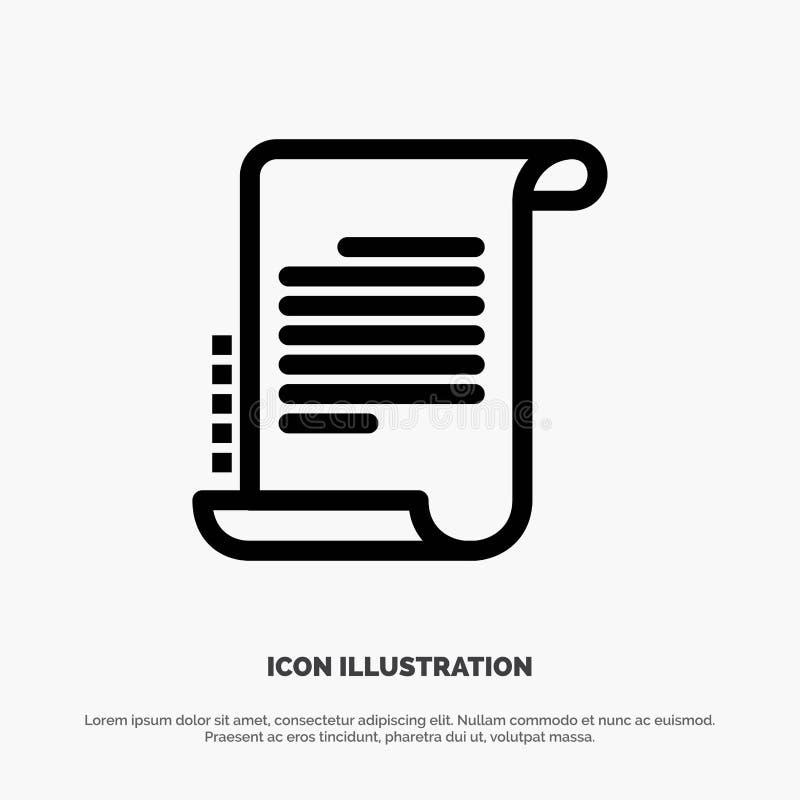Verordnung, Roman, Szenario, Drehbuch-Linie Ikonen-Vektor vektor abbildung