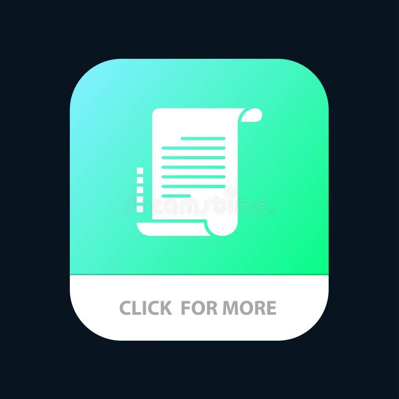Verordnung, Roman, Szenario, Drehbuch mobiler App-Knopf Android und IOS-Glyph-Version vektor abbildung