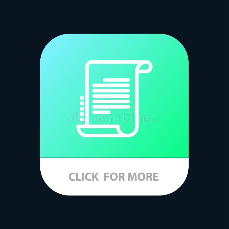 Verordnung, Roman, Szenario, Drehbuch mobiler App-Knopf Android und IOS-Linie Version vektor abbildung