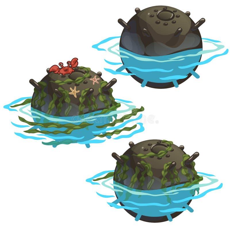 Verouderde onderwatermijn met zeewier en krab vector illustratie