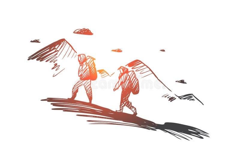 Verover, bereik, samen, uitdaging, beklimmend concept Hand getrokken geïsoleerde vector royalty-vrije illustratie