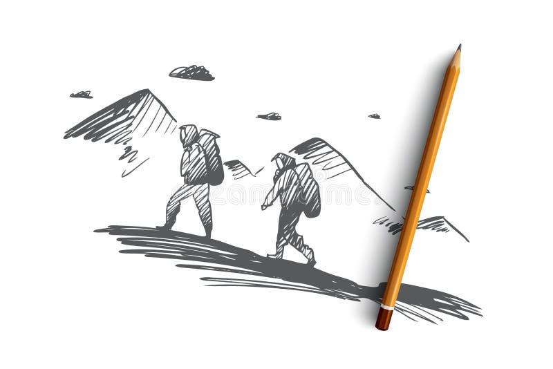 Verover, bereik, samen, uitdaging, beklimmend concept Hand getrokken geïsoleerde vector stock illustratie