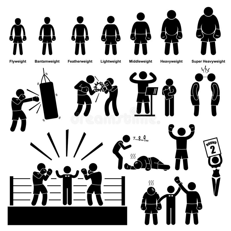Verpacken-Boxer-Stock-Zahl Piktogramm-Ikone lizenzfreie abbildung