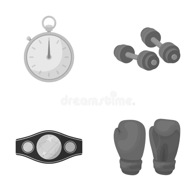 Verpacken, Sport, Stoppuhr, gesetzte Sammlungsikonen Uhr Verpackens in der einfarbigen Art vector Illustrationsnetz des Symbols a lizenzfreie abbildung