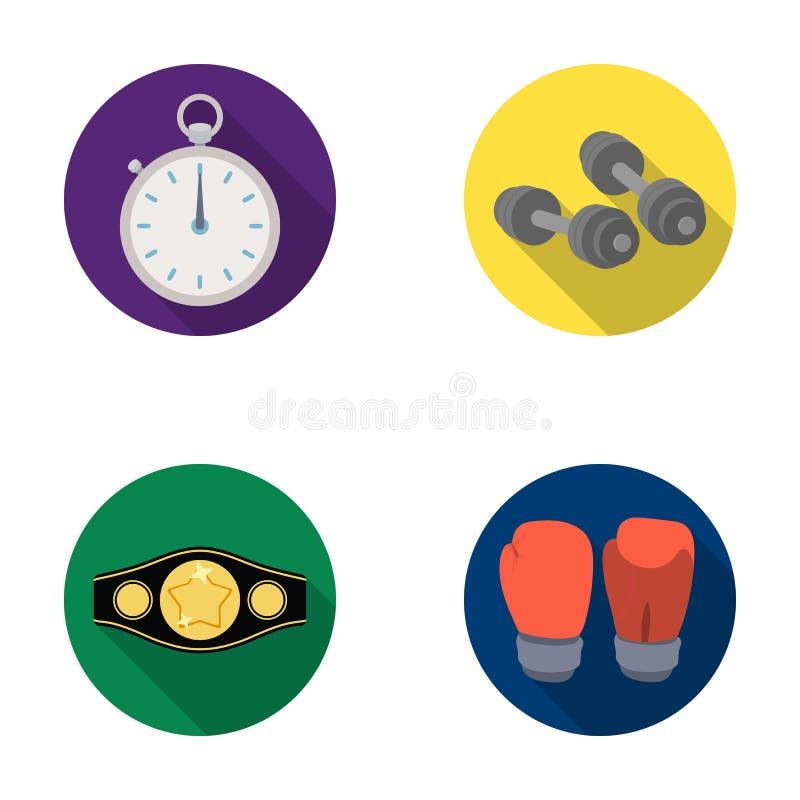 Verpacken, Sport, Stoppuhr, gesetzte Sammlungsikonen Uhr Verpackens in der flachen Art vector Illustrationsnetz des Symbols auf L stock abbildung