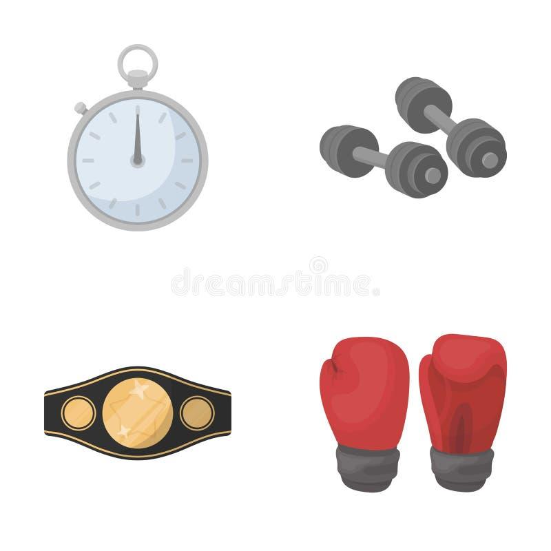 Verpacken, Sport, Stoppuhr, gesetzte Sammlungsikonen Uhr Verpackens in der Karikaturart vector Illustrationsnetz des Symbols auf  stock abbildung