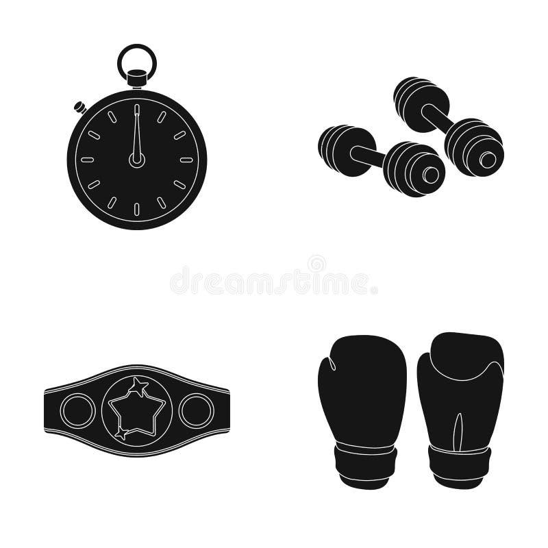 Verpacken, Sport, Stoppuhr, gesetzte Sammlungsikonen Uhr Verpackens in der schwarzen Art vector Illustrationsnetz des Symbols auf stock abbildung