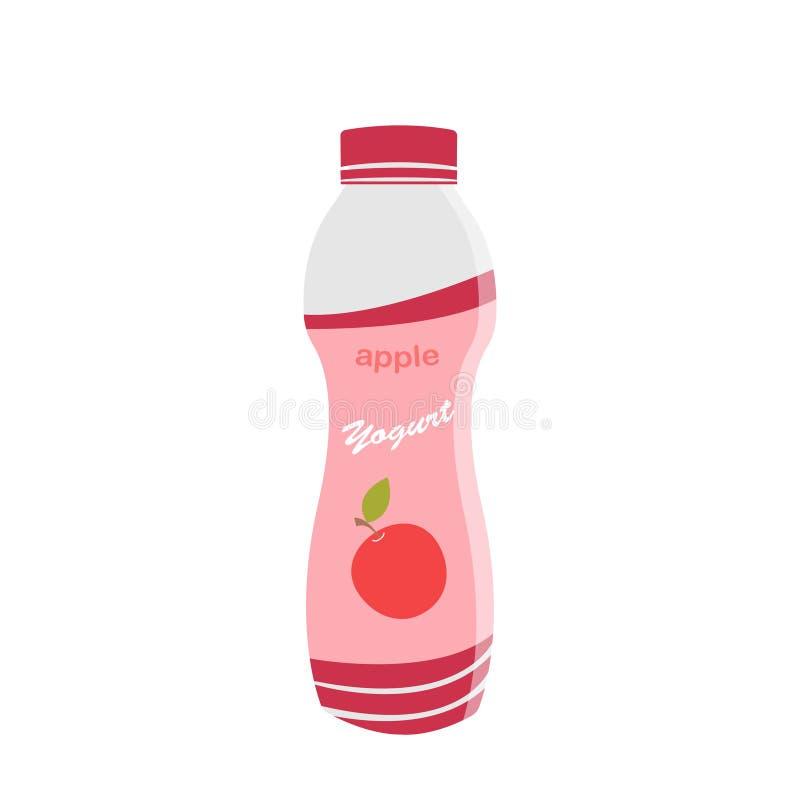 Verpackender Jogurt mit einem Teelöffel Apple-gewürzter Jogurt Auch im corel abgehobenen Betrag lizenzfreie abbildung