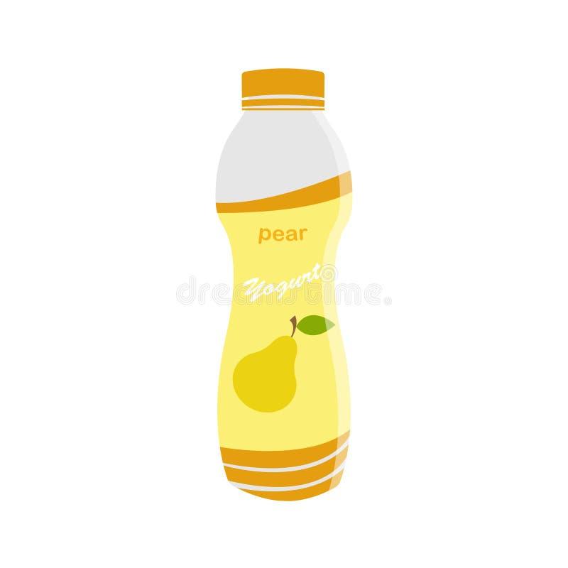 Verpackender Jogurt mit einem Teelöffel Birnenaromajoghurt Auch im corel abgehobenen Betrag lizenzfreie abbildung
