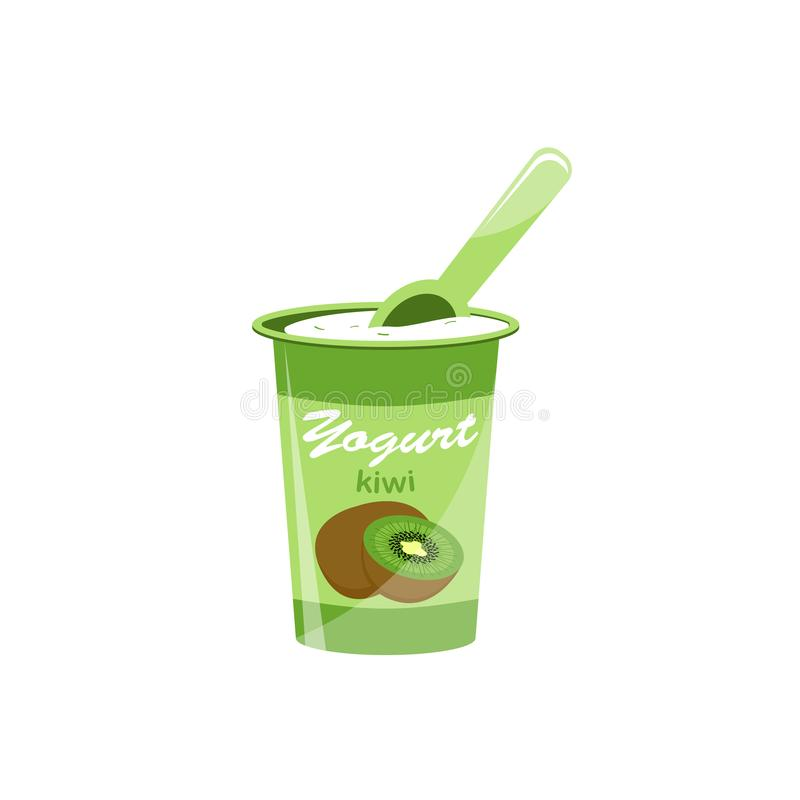 Verpackender Jogurt mit einem Teelöffel Kiwijoghurt Auch im corel abgehobenen Betrag stock abbildung
