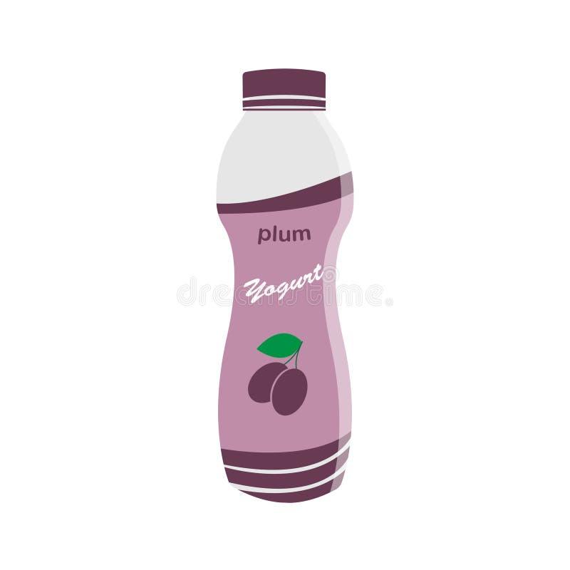 Verpackender Jogurt mit einem Teelöffel Pflaume gewürzter Jogurt Auch im corel abgehobenen Betrag vektor abbildung