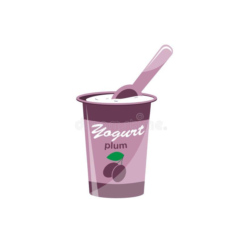Verpackender Jogurt mit einem Teelöffel Pflaume gewürzter Jogurt Auch im corel abgehobenen Betrag stock abbildung