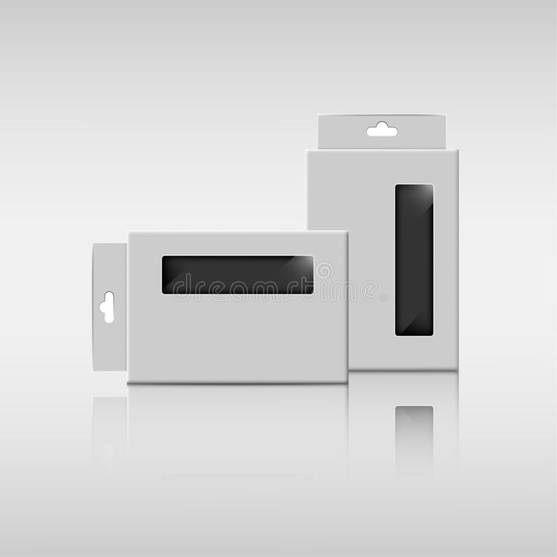 Verpackender rechteckiger Papierkasten zwei mit klarem Plastik für elektronische Produkte lizenzfreie abbildung