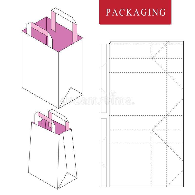 Verpackenschablone der Tasche f?r das Tragen lizenzfreie abbildung