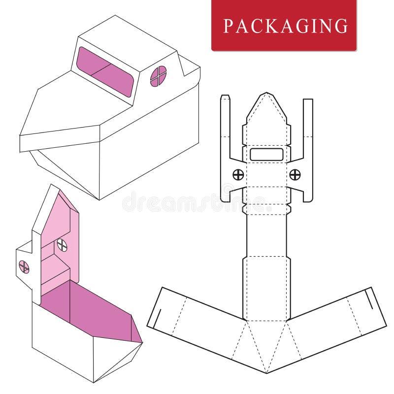 Verpackenschablonenschiffskonzept für Geschäft stock abbildung