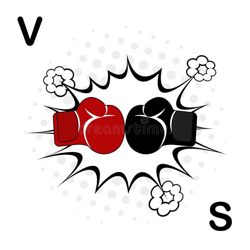 Verpackensport-Trainingsikone Boxhandschuhkampfikone, rot gegen Schwarzes Zusammenstoß von Handschuhen von Rivalen gegen den Hint stockbilder