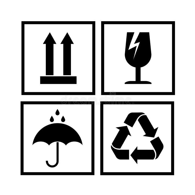Verpackensymbole in der Form von Stempeln, für hölzernes, Pappschachteln lizenzfreie abbildung