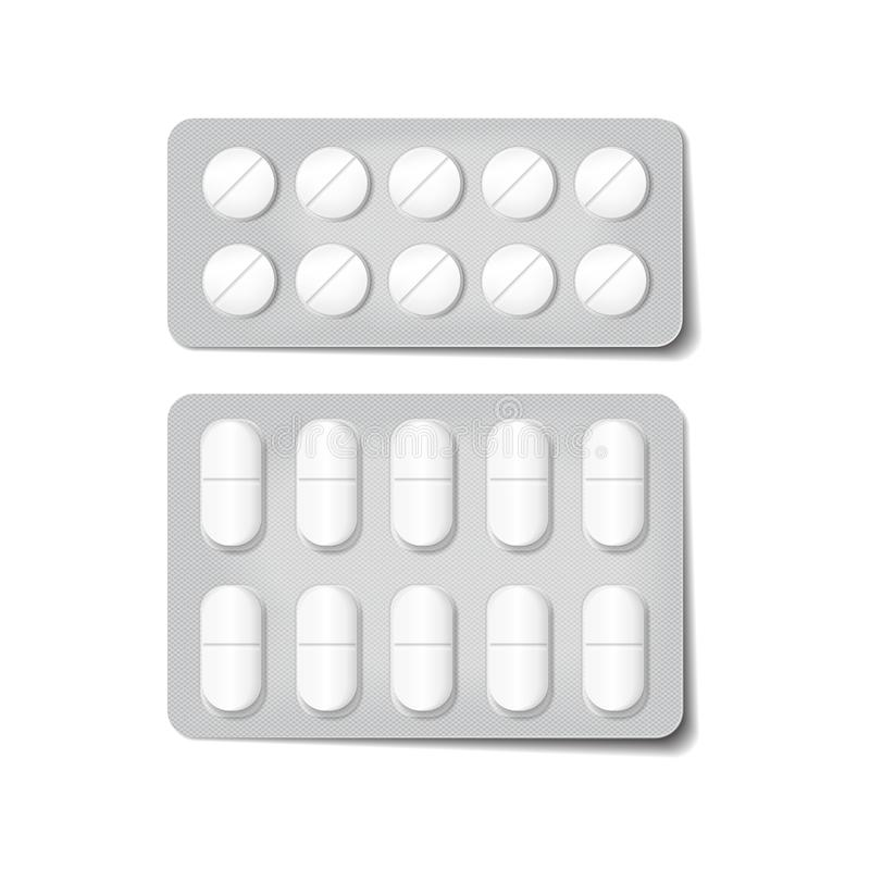 Verpackung 3d für Drogen Schmerzmittel, Antibiotika, Vitamine und aspirin-Tabletten Vektorsatz des Blasensatzes, realistisch vektor abbildung