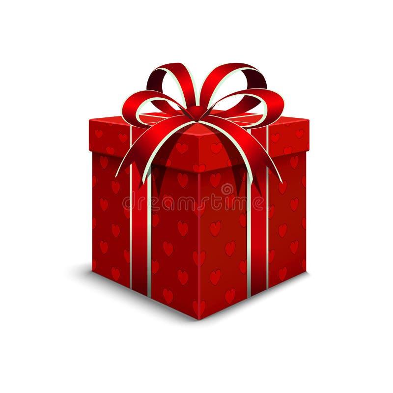 Verpackung 3d Valentinsgruß ` s Tag Realistische Geschenkbox mit einem roten colo stock abbildung
