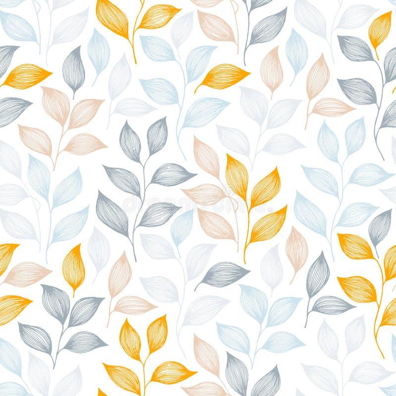 Verpackung der nahtlosen Vektorillustration des Teeblattmusters lizenzfreie abbildung
