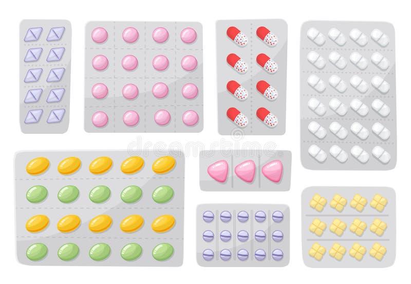 Verpackung für Drogen, Schmerzmittel, Antibiotika, Vitamine und aspirin-Tabletten Satz Blasenikonen mit Pillen und lizenzfreie abbildung