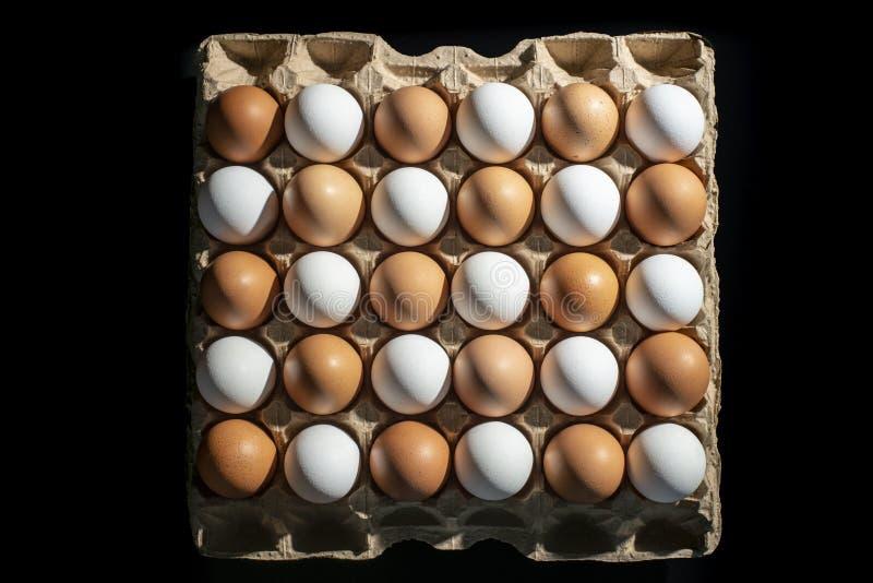 Verpackung von den gelben und weißen Hühnereien vereinbart in einer diagonalen Zusammensetzung auf einem schwarzen Hintergrund lizenzfreies stockbild