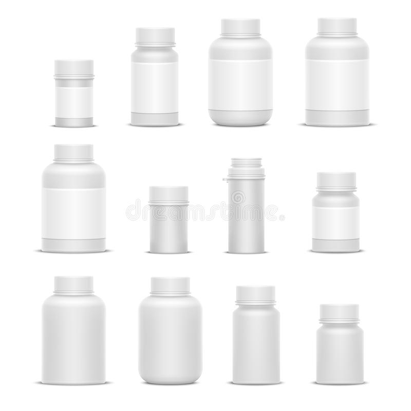 Verpackungs-Medizinflaschen des realistischen Vektors Plastikfür Kosmetikvitaminpillen oder -kapseln stock abbildung