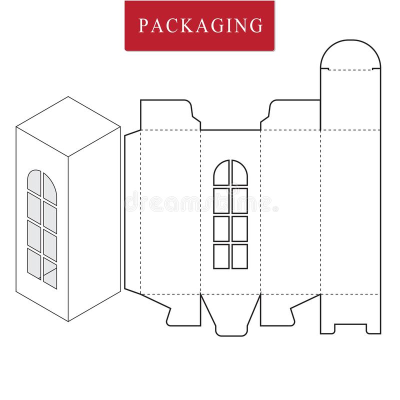 Verpackungsgestaltung Vektorillustration des Kastens Paketschablone Lokalisierter wei?er Kleinspott oben vektor abbildung