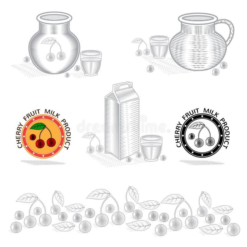 Verpackungskonzeptelement für trockenen Kirschjoghurt oder -creme stock abbildung