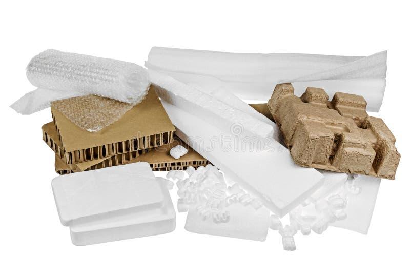 Verpackungsmaterialien lokalisiert stockfoto