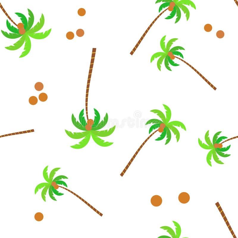 Verpakkend bladerenpatroon naadloze vector Tropische kokosnoteninstallatie aardachtergrond op witte achtergrond wordt geïsoleerd  vector illustratie