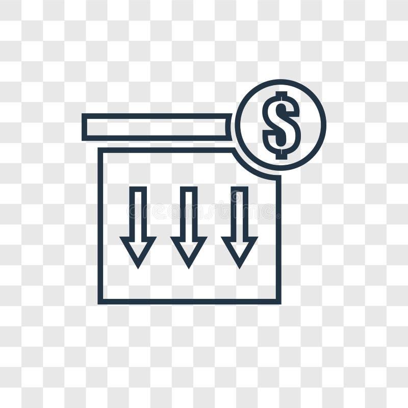 Verpakkend concepten vector lineair die pictogram op transparante bac wordt geïsoleerd stock illustratie