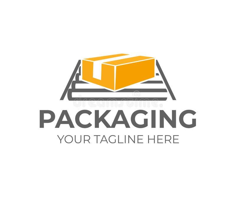 Verpakkend kartondoos of karton op transportband, embleemontwerp Logistiek, het verschepen en snelle levering van goederen, vecto vector illustratie