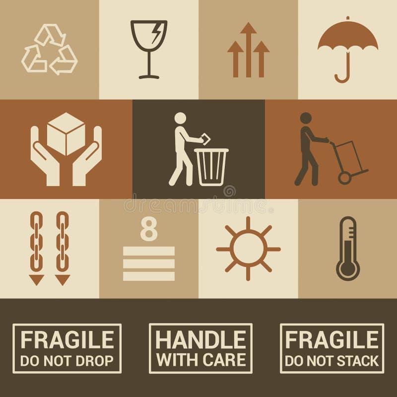 Verpakkende pictogrammen stock illustratie