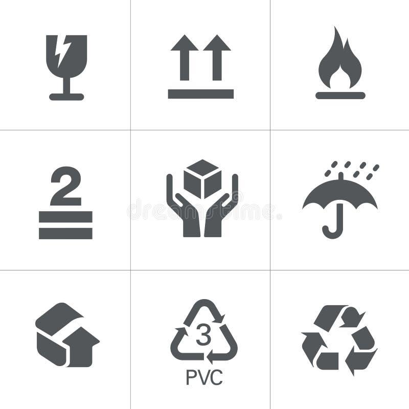 verpakkende symbolen vector illustratie