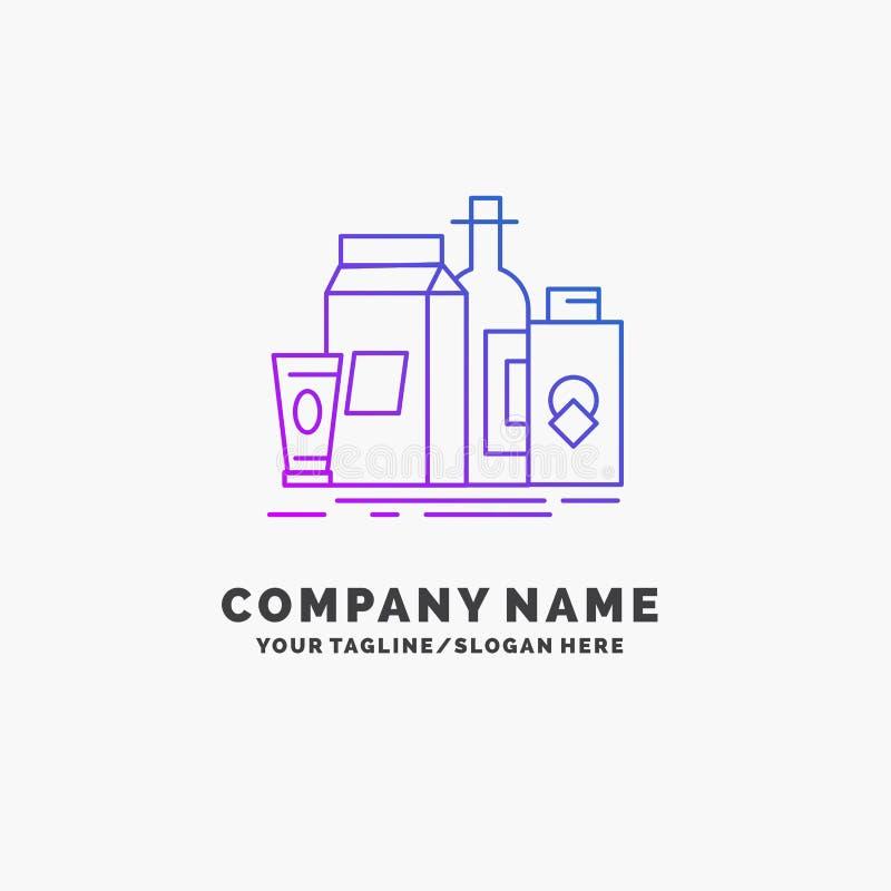 verpakking, het Brandmerken, marketing, product, flessen Purpere Zaken Logo Template Plaats voor Tagline royalty-vrije illustratie