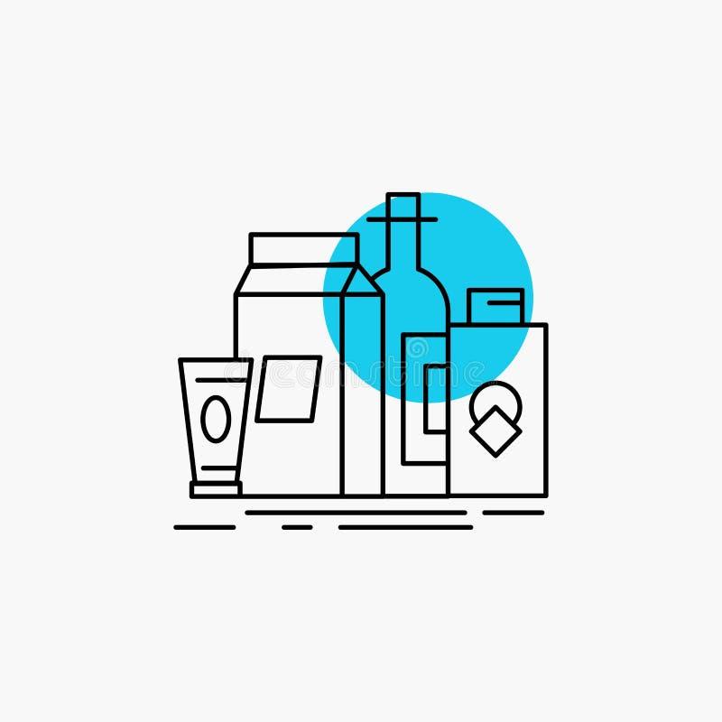 verpakking, het Brandmerken, marketing, product, het Pictogram van de flessenlijn stock illustratie