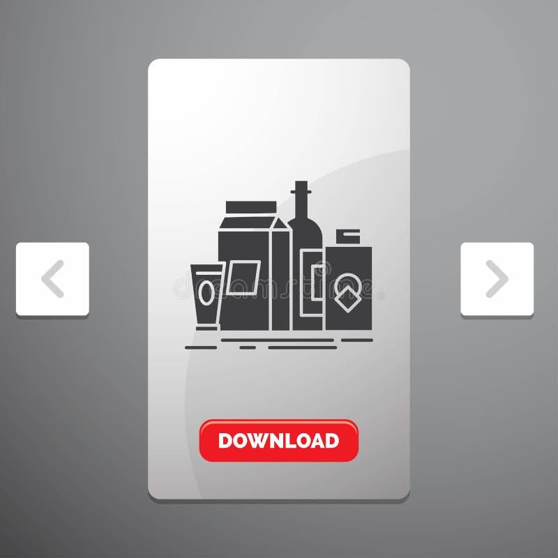 verpakking, het Brandmerken, marketing, product, het Pictogram van flessenglyph in Carousal het Ontwerp van de Pagineringschuif & stock illustratie