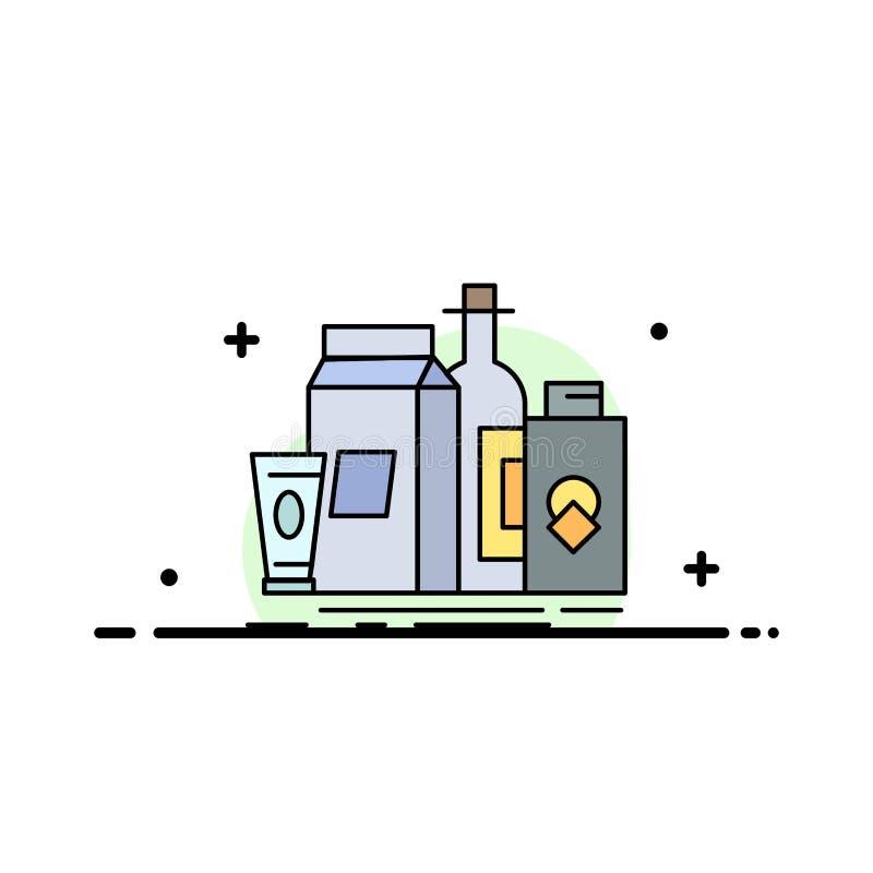 verpakking, het Brandmerken, marketing, product, het Pictogramvector van de flessen Vlakke Kleur royalty-vrije illustratie