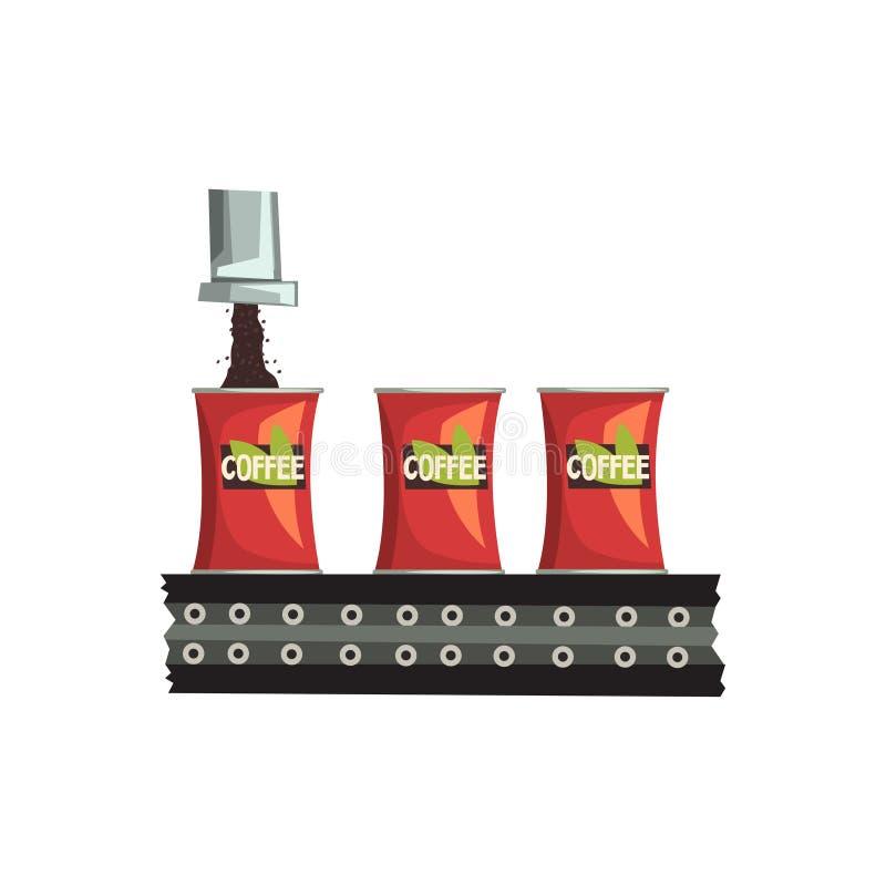 Verpakking van koffie, de geautomatiseerde vectorillustratie van de riemtransportband op een witte achtergrond stock illustratie