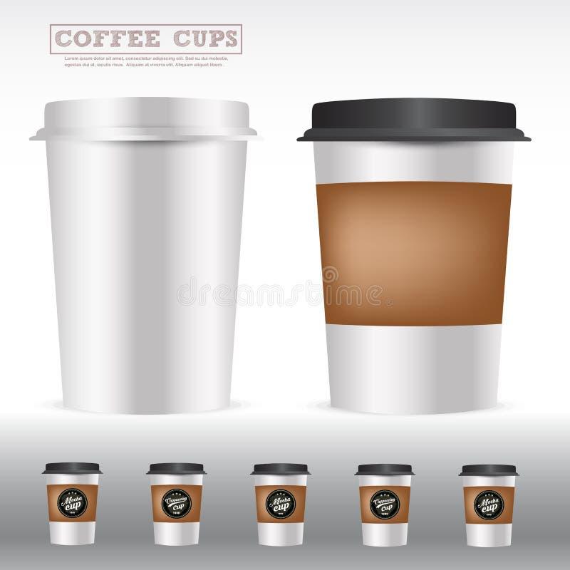 Verpakking van koffiekoppen stock illustratie