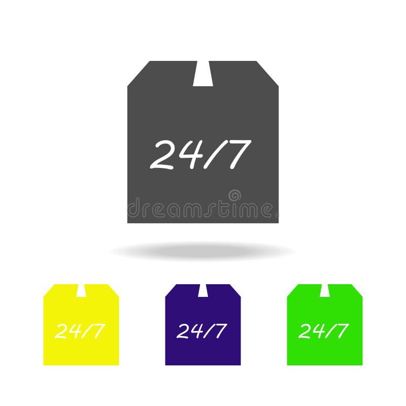 verpakkingsdoos en 24 7 multicolored pictogrammen Tekens en symboleninzamelingspictogram voor websites, Webontwerp, mobiele toepa royalty-vrije illustratie