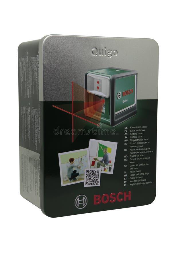 Verpakkingsdoos voor een laserniveau Bosch royalty-vrije stock foto's