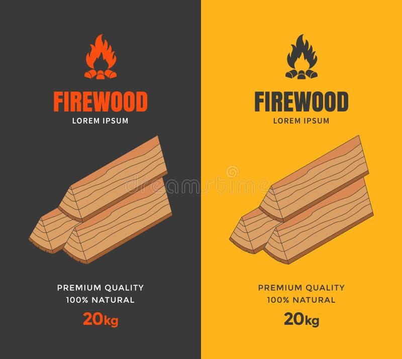 Verpakkingsontwerp voor brandhout stock illustratie