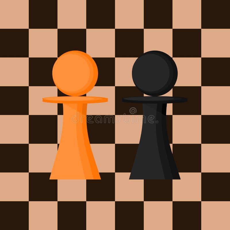 Verpand a-reeks van twee stukken Schaakcijfer tegen de achtergrond van het schaakbord Vector stock illustratie