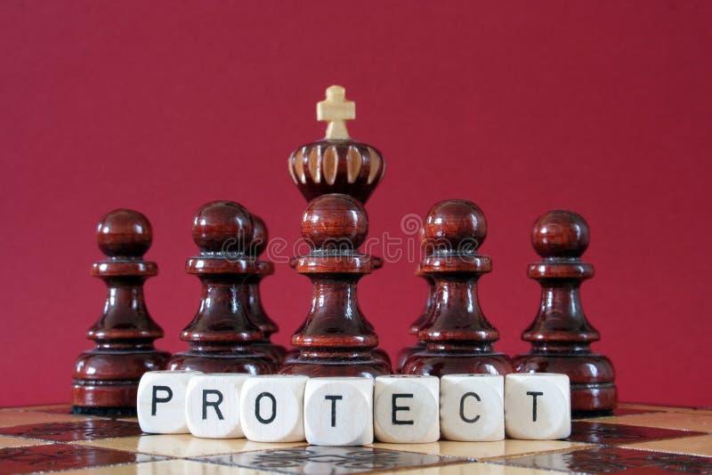 Verpfändet schützenden Schachkönig lizenzfreies stockfoto