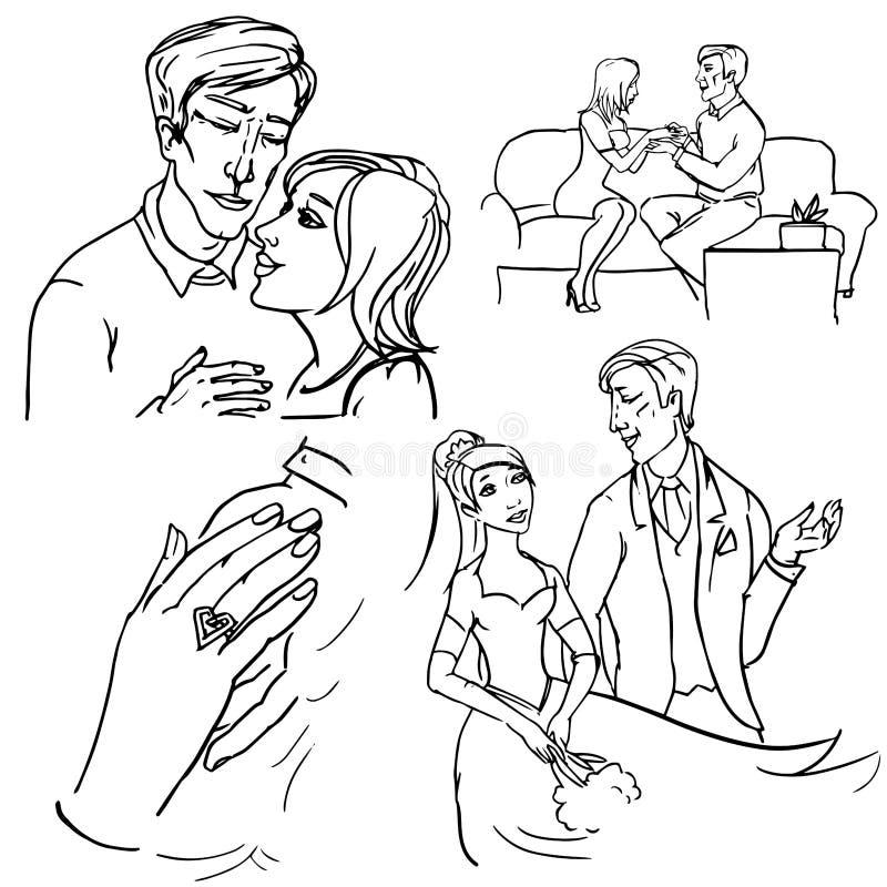 Verpflichtung, Betrothal und Hochzeit vektor abbildung